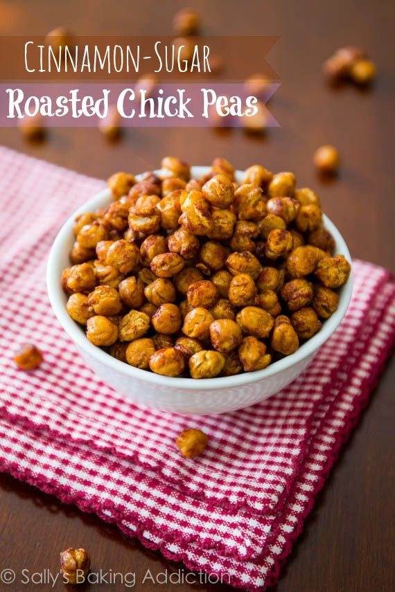 How to make Crunchy Cinnamon-Sugar Roasted Chickpeas. Healthy and addicting! sallysbakingaddiction.com