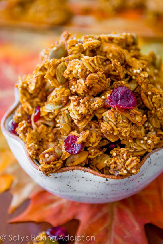 Crunchy Pumpkin Spice Granola. Easy recipe at sallysbakingaddiction.com