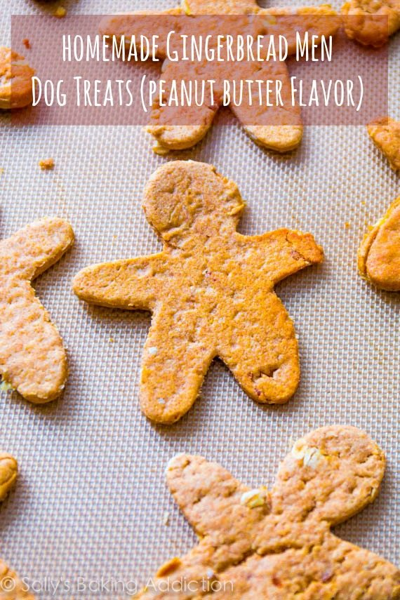 Homemade Gingerbread Men Dog Treats - peanut butter flavor