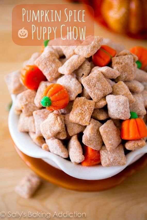 Pumpkin Spice Puppy Chow on sallysbakingaddiction.com