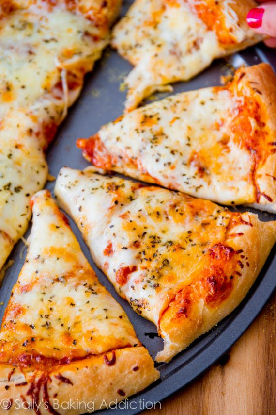 Homemade extra cheese pizza sallys baking addiction extra cheese pizza on thick style homemade pizza crust step by step forumfinder Images