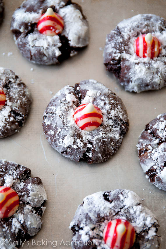 Festive Chocolate Candy Cane Kiss Cookies on sallysbakingaddiction.com