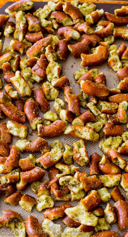 These Seasoned Pretzels should come with a warning label! They're SO easy. And they disappear fast!