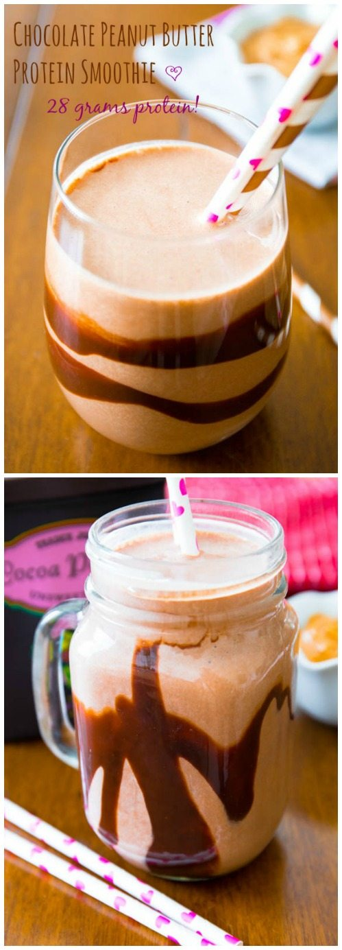 There's a whopping 28 grams of protein in this chocolate peanut butter cup smoothie-- no protein powders either!