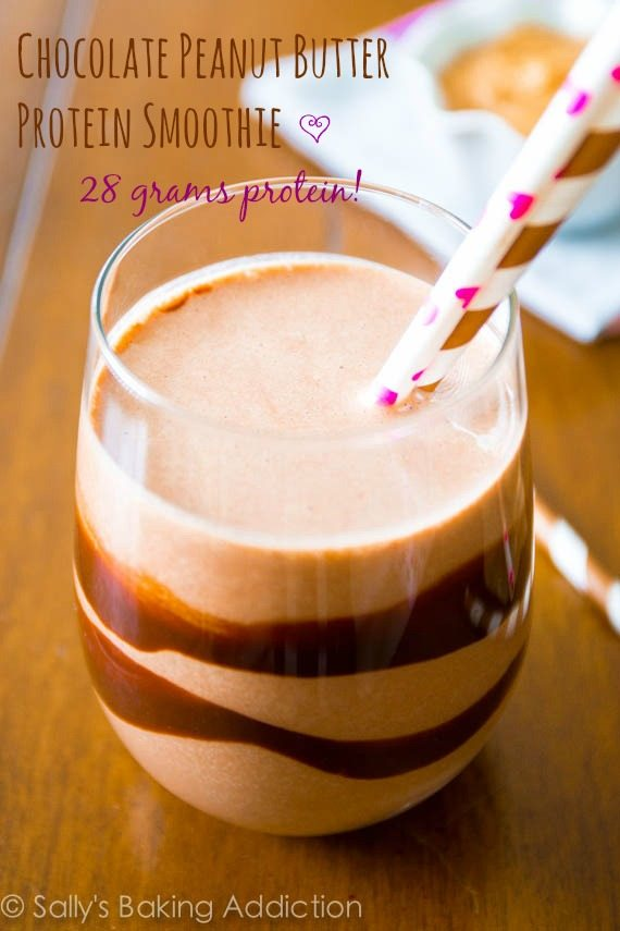 Chocolate Peanut Butter Protein Smoothie with 28 grams of protein!