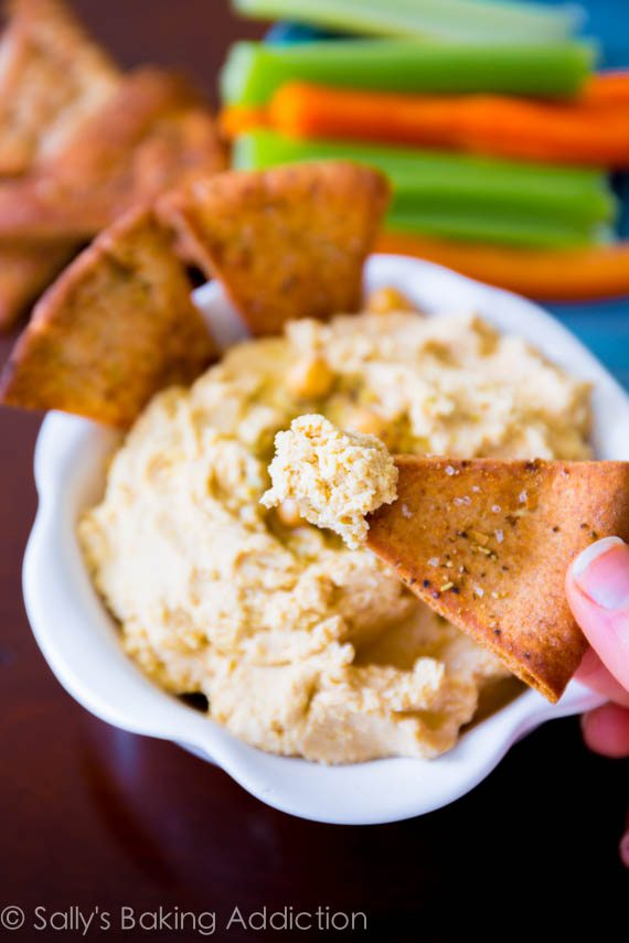 Homemade Hummus with Crunchy Spiced Pita Chips. This is my favorite (super simple) homemade hummus recipe, you will make it time and time again!