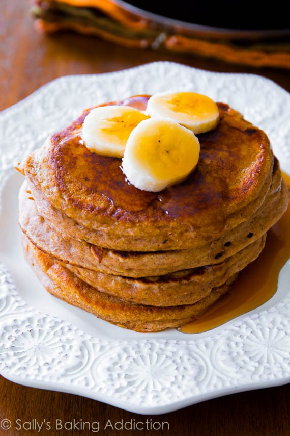 Simple Whole Wheat Banana Pancakes made with Greek yogurt, banana, whole wheat flour, and not much else!