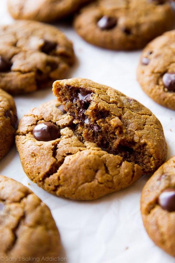 Almond butter chocolate chip cookies on sallysbakingaddiction.com