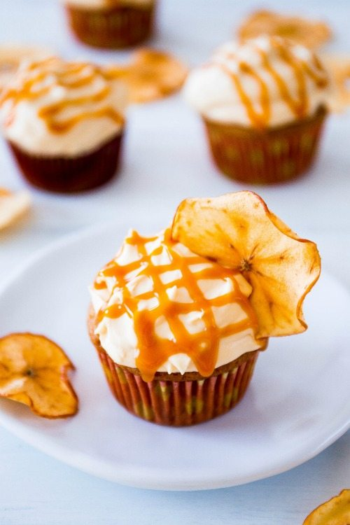 Cookbook-- Apple Spice Cupcakes with Salted Caramel Frosting