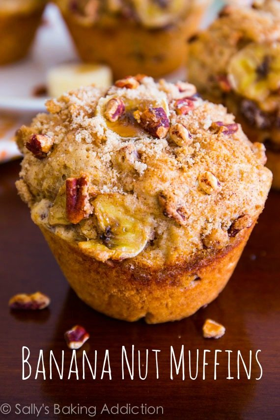 Jumbo Banana Nut Muffins with brown sugar, cinnamon, pecan streusel. These super-moist muffins are bursting with flavor!