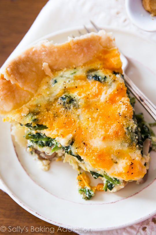 Simply cheese spinach quiche-- on a homemade crust, you CANNOT beat this recipe!