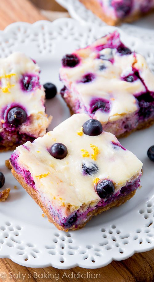 Lemon Blueberry Cheesecake Bars Sallys Baking Addiction