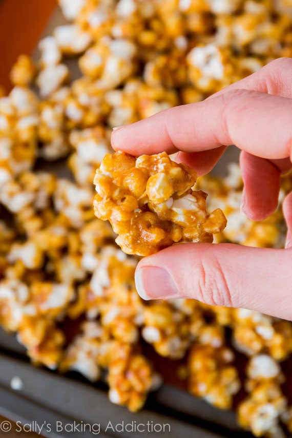 Homemade Caramel Corn - sticky, salty, sweet, and irresistible!