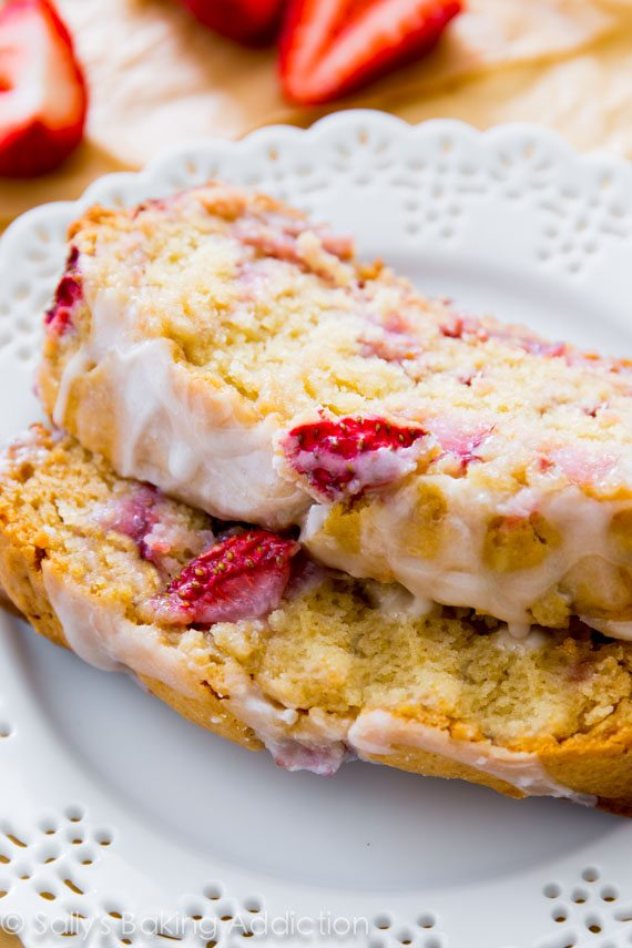 Glazed Strawberry Bread | sallysbakingaddiction.com