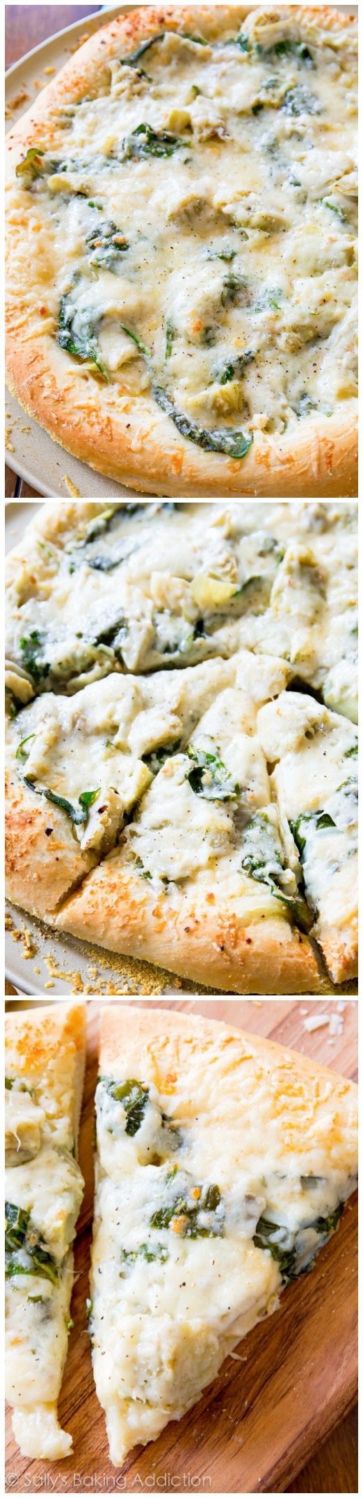 Spinach Artichoke White Cheese Pizza - this white pizza will remind you of creamy, comforting spinach artichoke dip!