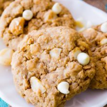 White Chocolate Macadamia Nut Oatmeal Cookies - buttery, soft-baked, chewy, and loaded with chunks of white chocolate and macadamia nuts-3