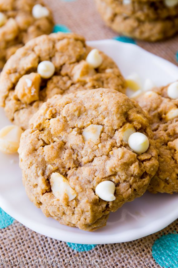 These soft-baked oatmeal cookies are loaded with creamy white chocolate and buttery macadamia nuts. Only 30 minutes to chill, you'll have oatmeal cookies in no time!