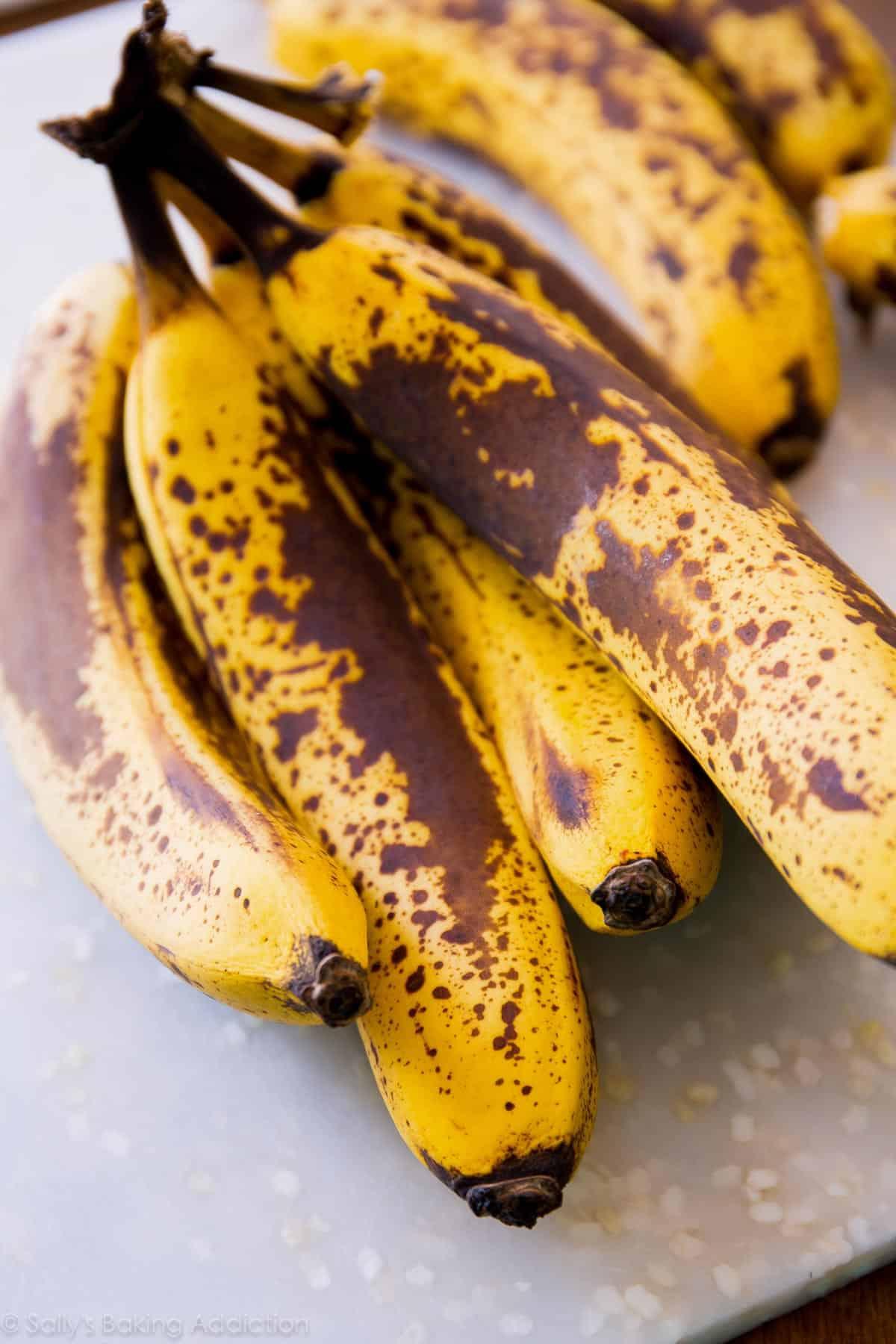 Bananas for banana bread on sallysbakingaddiction.com