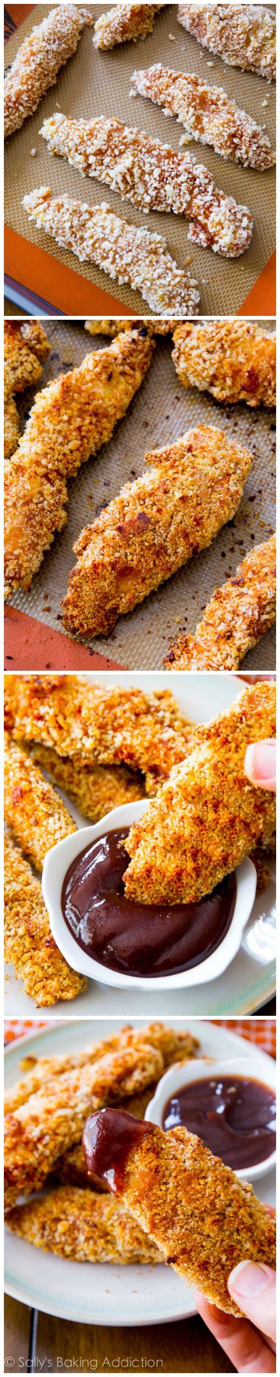 Baked Chicken Fingers @sallybakeblog
