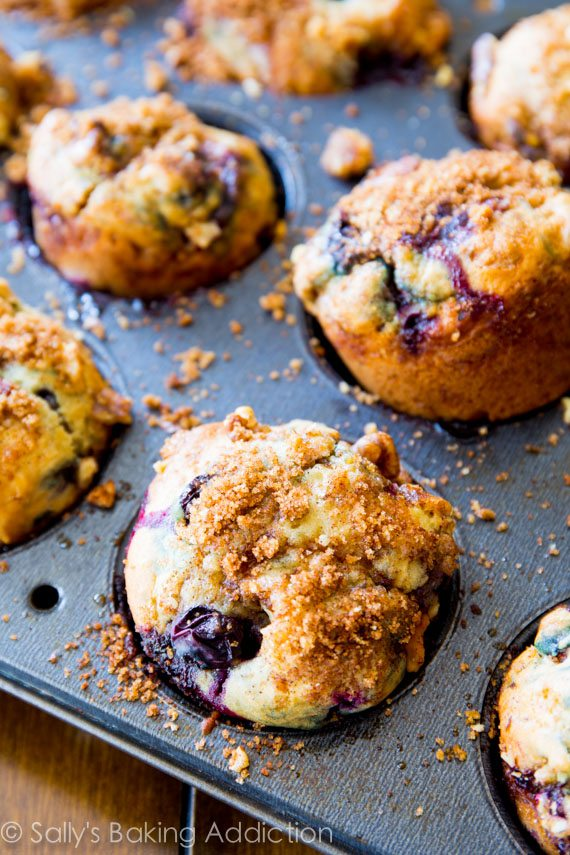 The best blueberry muffins! Buttery and moist, these fruity muffins are heavy on the brown sugar streusel and juicy blueberries.