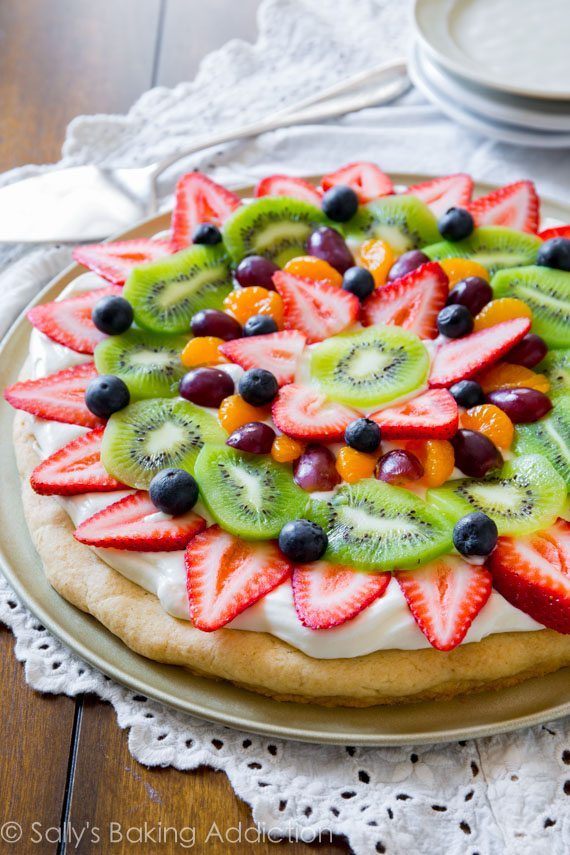 You can't beat a classic! This colorful, delicious Fruit Pizza has the works and is baked on my soft sugar cookie crust.