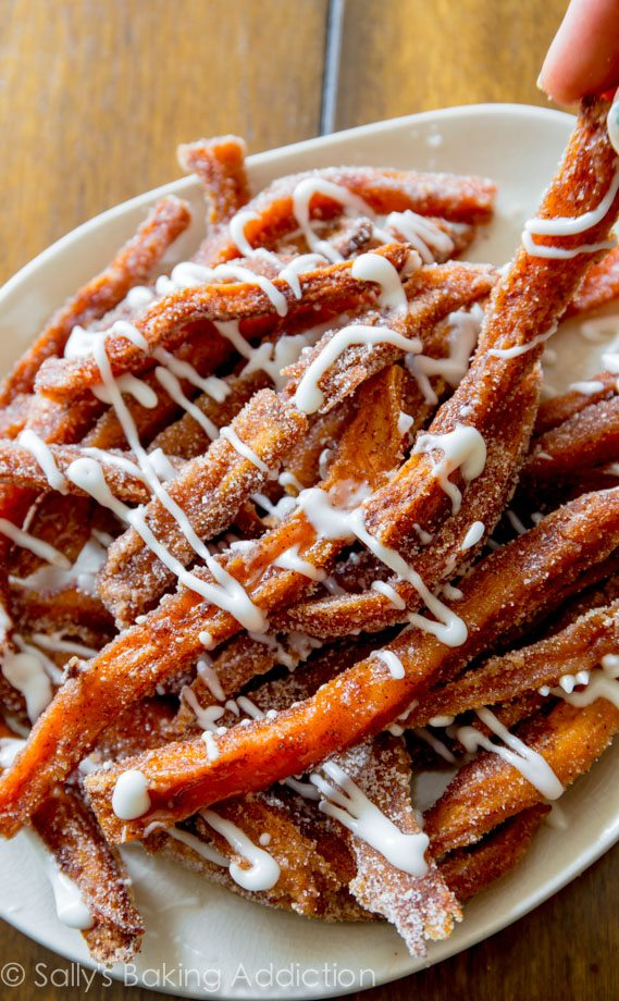 Cinnamon Sugar Sweet Potato Fries by @sallybakeblog