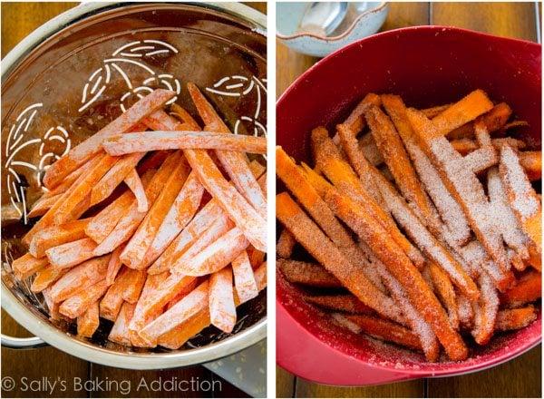 Cinnamon Sugar Sweet Potato Fries by @sallybakeblog