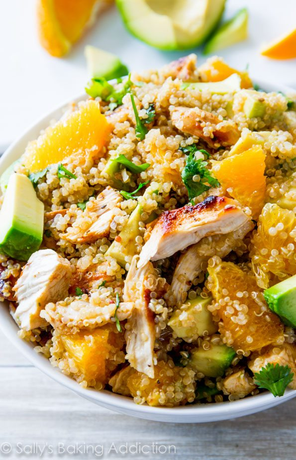 Citrus Chicken Quinoa Salad is bursting with flavor and filled with wholesome, healthy ingredients like chicken, quinoa, avocado, and more!