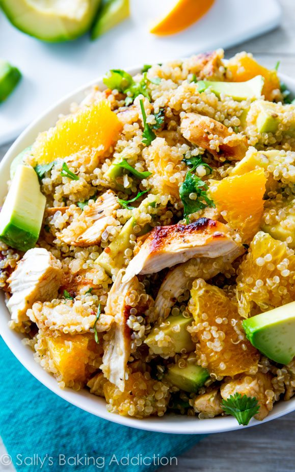 Citrus Chicken Quinoa Salad -- PLUS a collection of 20 other healthy spring quinoa recipes!