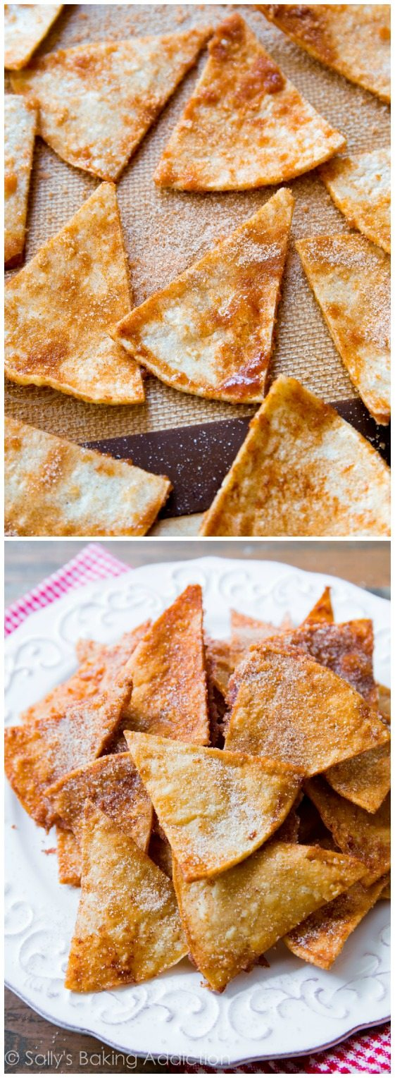 Homemade Cinnamon Sugar Baked Tortilla Chips - get the recipe at sallysbakingaddiction.com