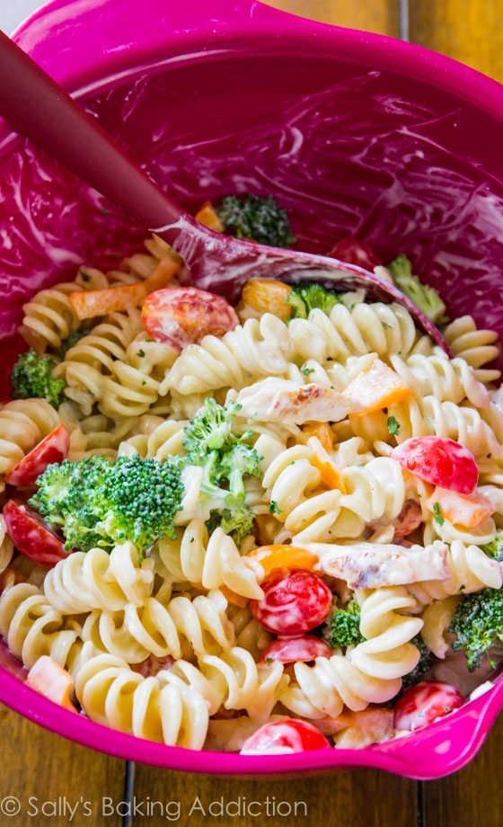 Creamy Chicken Pasta Salad with Greek yogurt-- easy, quick, and makes great leftovers!