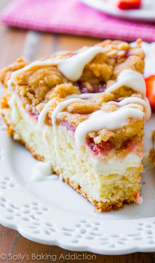 Glazed Strawberry Crumb Cake