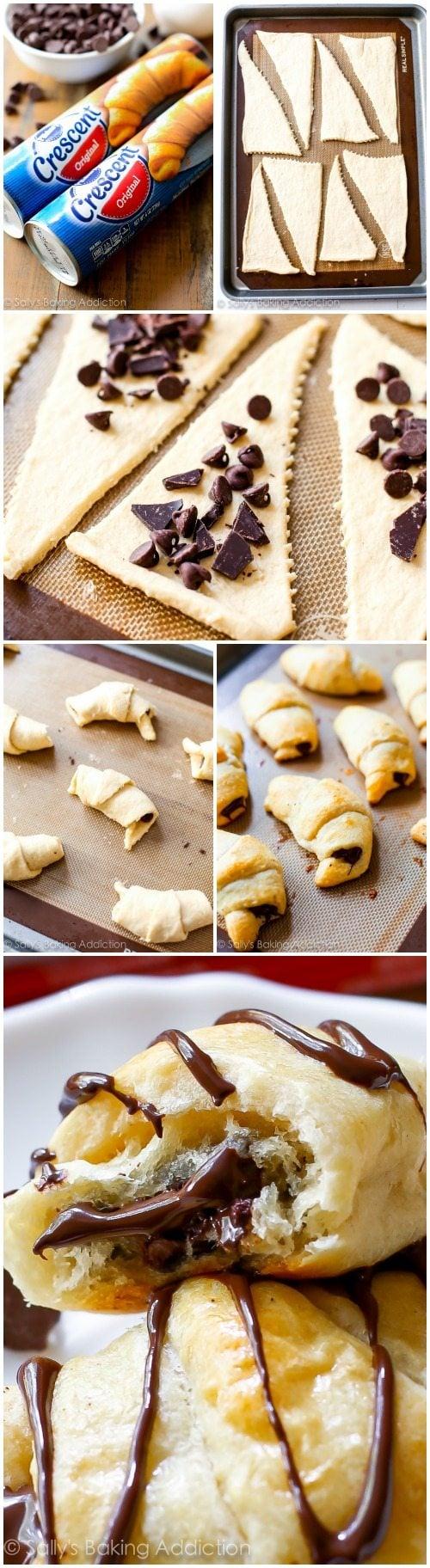 20 Minute Chocolate Crescents (Croissants). - Sallys Baking Addiction