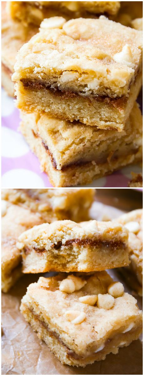 Absolutely delicious White Chocolate Snickerdoodle Blondies-- if you love cinnamon sugar, you have to try these!