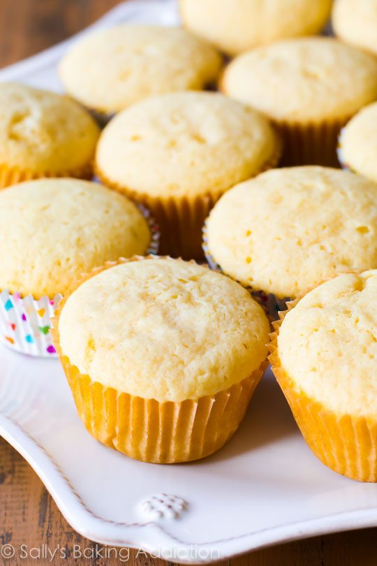 Homemade Yellow Cupcakes Recipe on sallysbakingaddiction.com