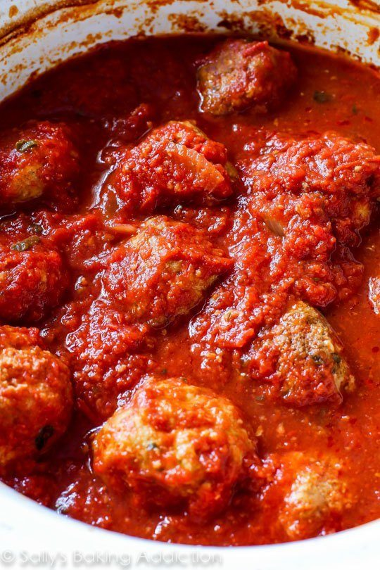 Lean Turkey Meatballs that are packed with flavor and so easy to make in the slow cooker!-2