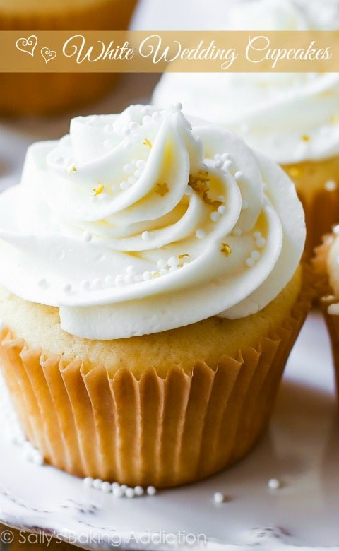 Tender and moist homemade vanilla almond cupcakes topped with creamy white chocolate frosting. A truly elegant treat for the most special day.