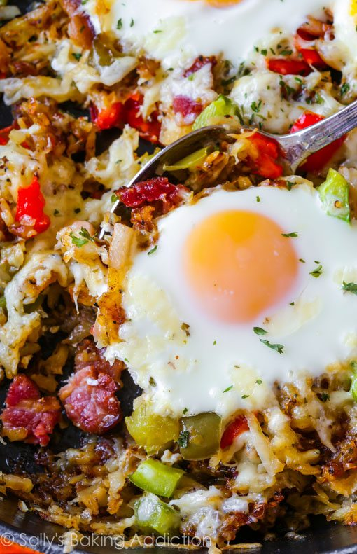Crisp Hash Breakfast Skillet-- emphasis on the crispy! My secrets to making crunchy, golden brown shredded hash browns. This simple breakfast skillet is full of flavor and texture!
