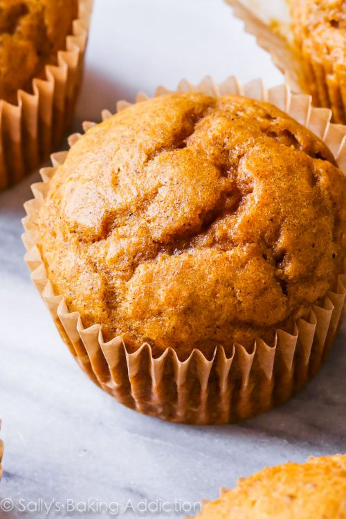Spiced Pumpkin Cupcakes from scratch-- with tons of pumpkin flavor!