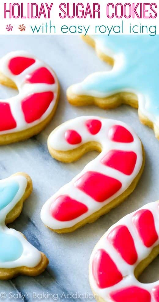 Holiday Cut-Out Sugar Cookies with Easy Royal Icing Recipe by sallysbakingaddiction.com