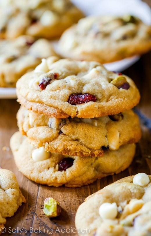White Chocolate Cranberry Pistachio Cookies sallysbakingaddiction.com