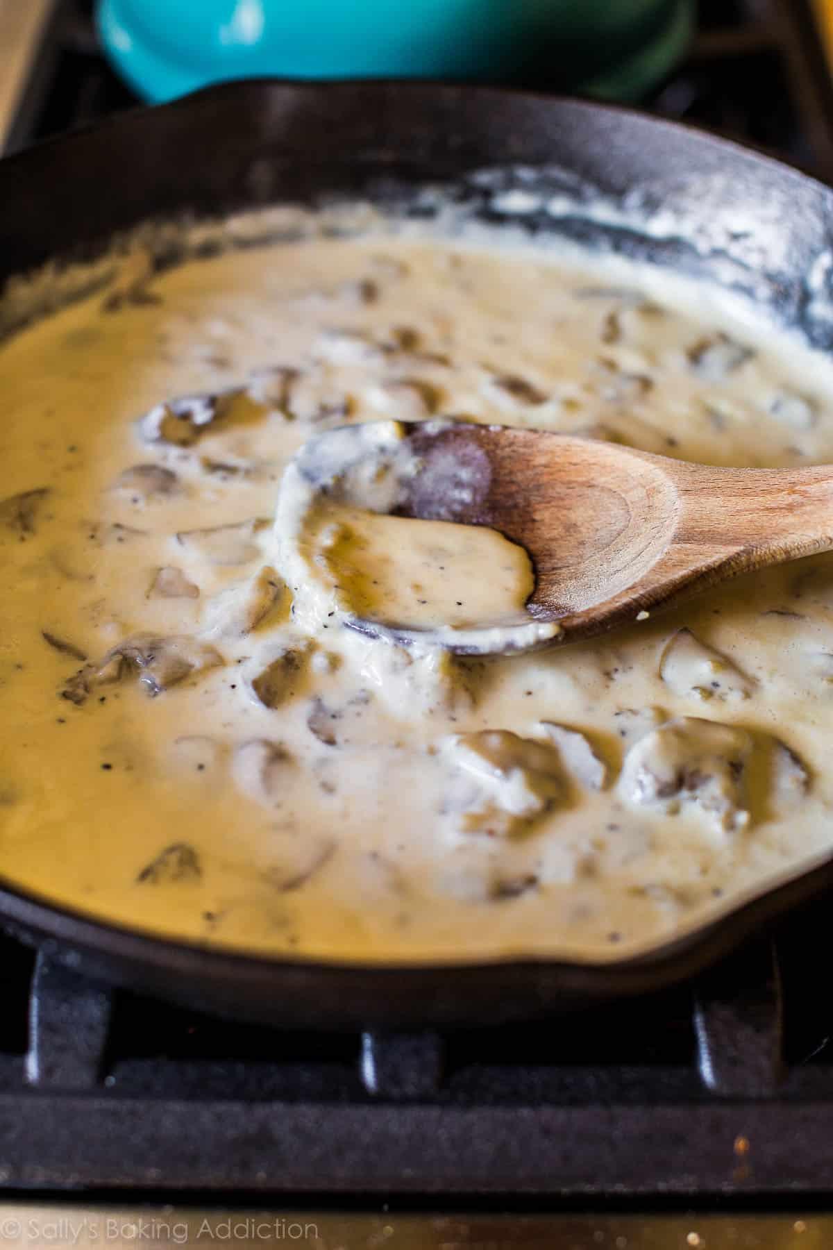 How to make creamy green bean casserole on sallysbakingaddiction.com