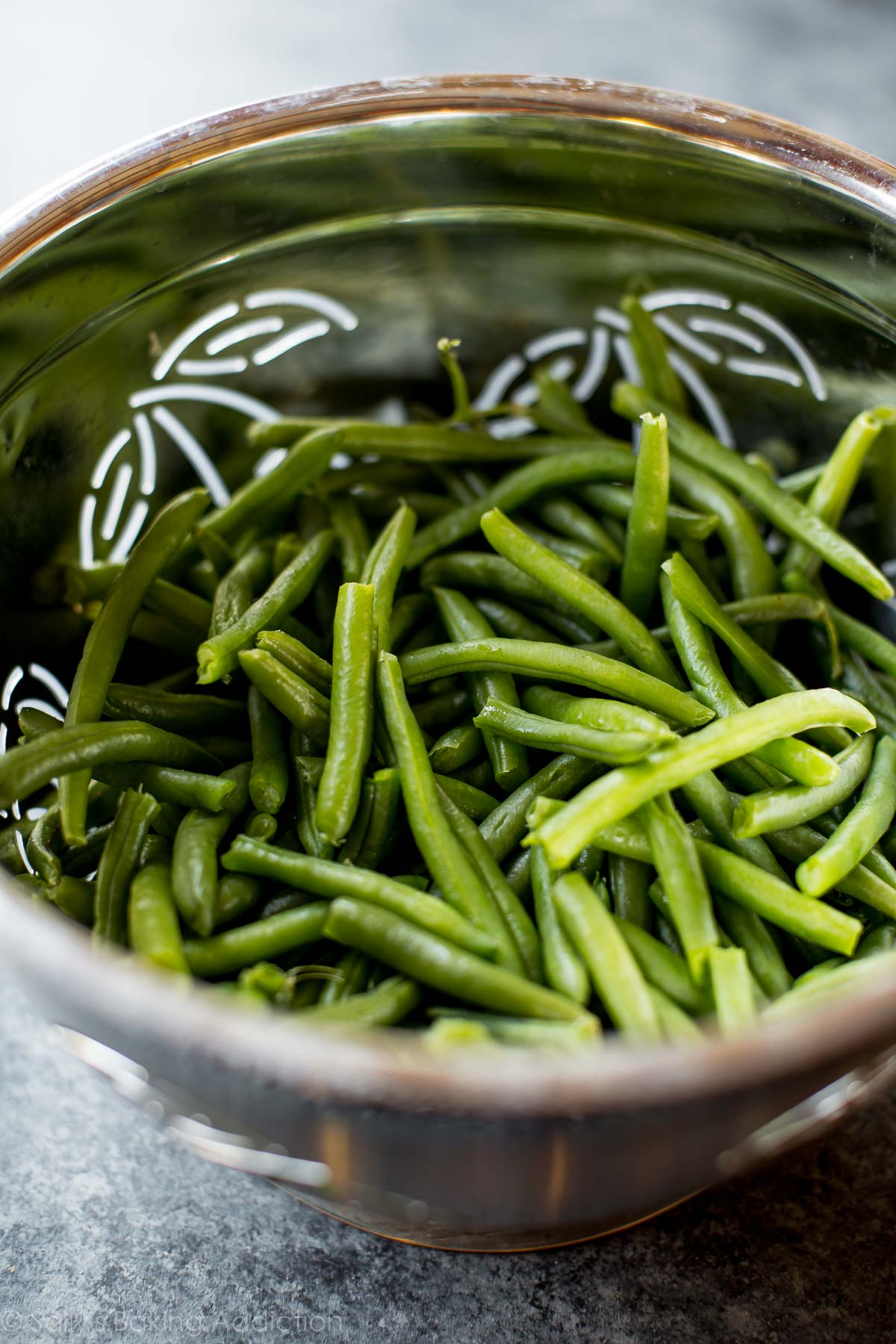 Blanched green beans for creamy green bean casserole on sallysbakingaddiction.com