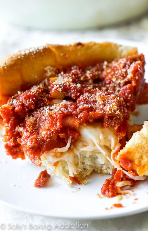 Chicago-Style Deep Dish Pizza Recipe on sallysbakingaddiction.com ...