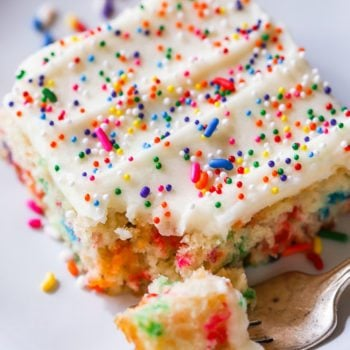Vanilla Frosted Funfetti Sheet Cake by sallysbakingaddiction.com