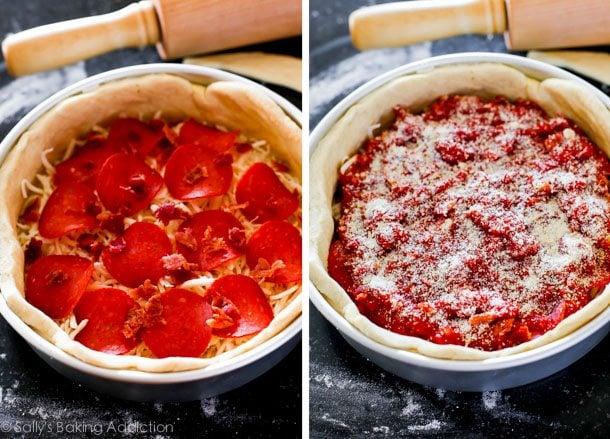 How to Make Chicago-Style Deep Dish Pizza on sallysbakingaddiction.com