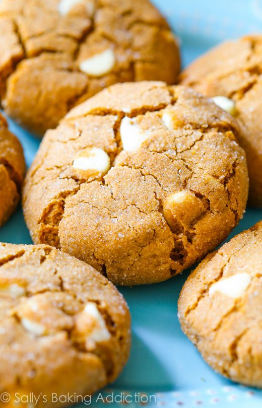 Soft and chewy brown sugared molasses cookies with lots of sweet white chocolate chips. One of my favorites!