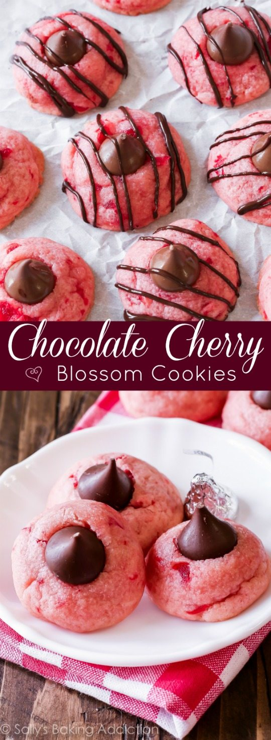 Chocolate Cherry Blossoms by sallysbakingaddiction.com-- my favorite shortbread cookie flavored with cherry and almond and adorned with chocolate kisses!