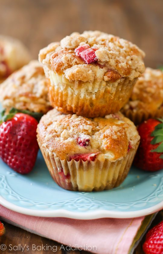 Strawberry Cheesecake Muffins are filled to the brim with strawberries ...