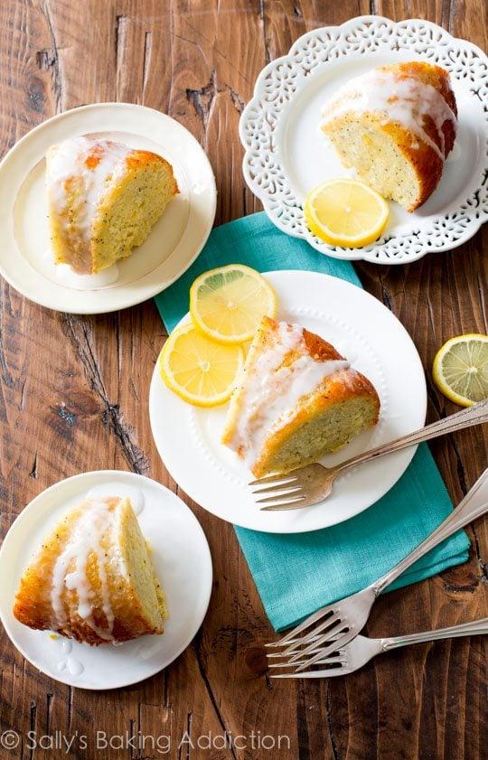 Glazed Lemon Poppy Seed Bundt Cake recipe on sallysbakingaddiction.com-- sweet, simple, bursting with flavor!